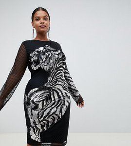 Read more about Asos curve embellished tiger mesh bodycon midi dress - black