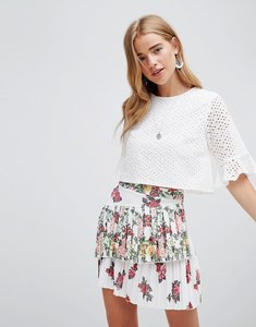 Read more about Asos design rose printed pleated mini skirt - multi