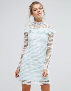 Read more about True decadence high neck lace mini dress with long sleeves and ruffle details - dusty mint