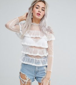 Read more about Glamorous petite allover lace frill top - white