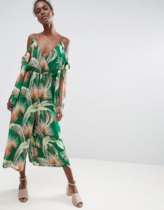 Read more about Asos jumpsuit with knot and split sleeve detail in tropical print - multi