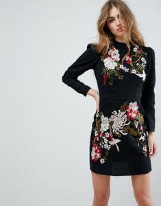 Read more about Asos premium embroidered mini dress - black