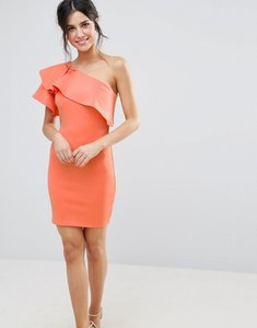 Read more about Club l one shoulder ruffle detail dress - camellia