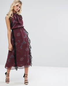 Read more about Stevie may crinkle chiffon printed midi dress with tie - dark botanical print