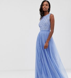Read more about Maya tall delicate sequin bodice maxi dress with cross back bow detail in bluebell