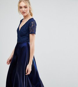 Read more about True decadence tall wrap front lace top midi prom dress - navy