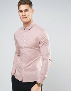 Read more about Asos design super skinny shirt with stretch in pink - pink