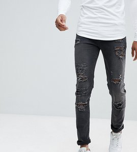 Read more about Asos tall skinny jeans in 12 5oz with mega rips in washed black - washed black