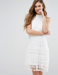 Read more about Missguided drop waist crochet lace shift dress - white