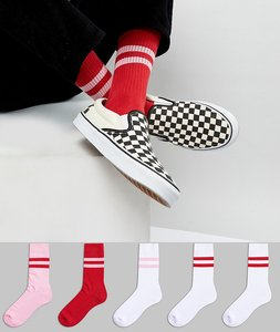 Read more about Asos sports style socks in red pink 5 pack - multi