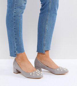 Read more about Lost ink wide fit anna grey pearl detail mid heeled shoes - grey