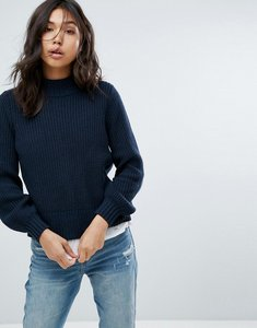 Read more about Abercrombie fitch puff sleeve turtle neck jumper - navy