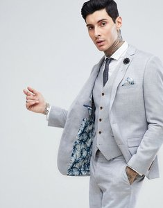 Read more about Harry brown stretch linen wedding pale blue slim fit suit jacket - blue