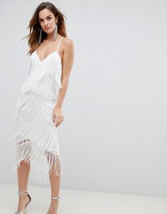 Read more about Asos fringe lace plunge bodycon midi dress - ivory