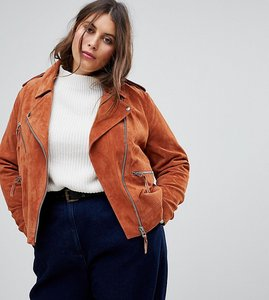 Read more about Asos curve suede jacket - brown