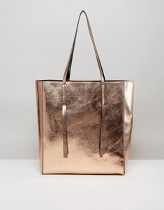 Read more about Asos metallic unlined tab detail shopper bag - rose gold