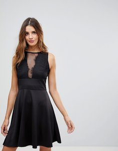 Read more about Wal g skater dress with deep mesh insert - black