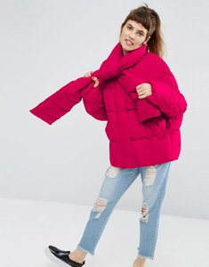Read more about Asos statement puffer jacket with tie neck - pink