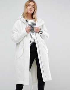 Read more about Asos washed parka with borg lining - white