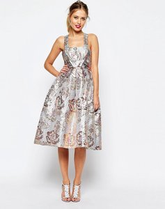 Read more about Asos salon metallic jacquard midi prom dress - multi