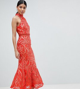 Read more about Jarlo tall all over lace high neck fishtail detail dress - orange