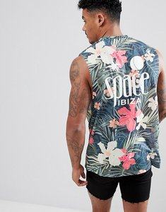 Read more about Asos design space ibiza sleeveless t-shirt with dropped armhole in all over floral - multi