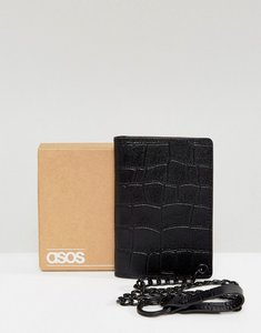 Read more about Asos leather wallet in black crocodile emboss with chain - black