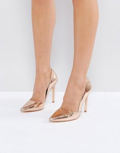 Read more about London rebel pointed metallic high heels - rose gold