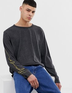 Read more about Mennace oversized long sleeve t-shirt in charcoal - grey