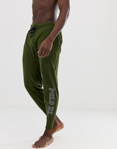 Read more about Polo ralph lauren soft cotton cuffed lounge jogger with polo rl logo in olive