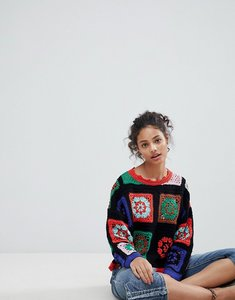 Read more about Asos premium jumper in hand crochet - multi