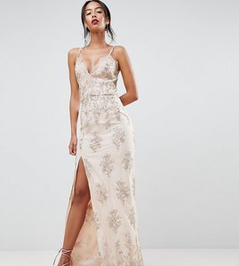 Read more about Chi chi london tall scalloped plunge maxi prom dress with gold embroidery - nude gold