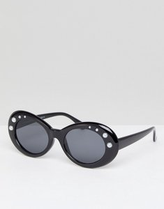 Read more about 7x oval frame chunky sunglasses with pearl embellishment - black