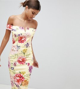 Read more about Missguided floral bardot midi dress - yellow