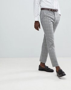 Read more about French connection heritage prince of wales check slim fit suit trousers - grey