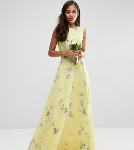 Read more about Asos tall wedding maxi dress in sunshine floral print - yellow print
