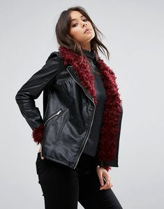 Read more about Missguided black faux fur detail faux leather jacket - black