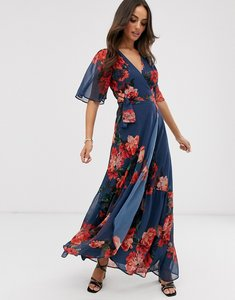 Read more about Hope ivy wrap front boho maxi dress in blue floral print