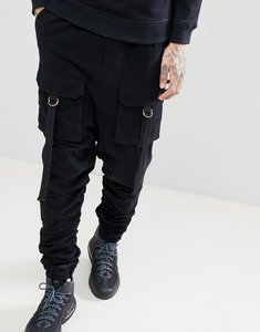 Read more about Asos drop crotch joggers with ruched detail and pockets in grey - black