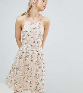 Read more about Dolly delicious all over embroidered floral lace high neck midi prom dress - multi