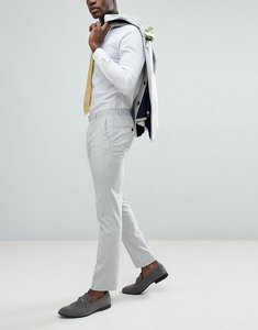 Read more about Farah skinny wedding suit trousers in cross hatch - gravel