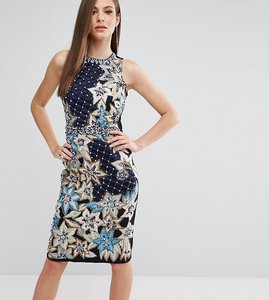 Read more about A star is born pencil dress with quilted embroidery embellishment - navy multi