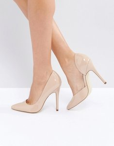 Read more about London rebel open point high heels - nude patent