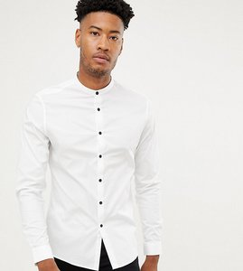 Read more about Asos design tall slim shirt with grandad collar contrast buttons - white