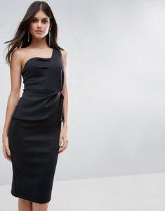 Read more about Asos one shoulder fold peplum scuba midi dress - black