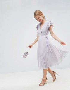 Read more about Asos pleated midi dress with flutter sleeve