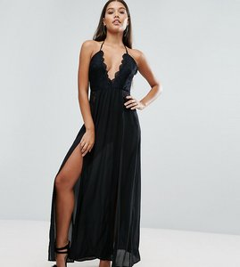 Read more about Naanaa maxi dress with double thigh split and lace trim - black