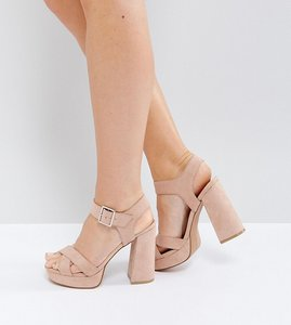 Read more about Asos hearts wide fit platform sandals - nude