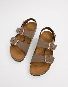 Read more about Birkenstock milano birko-flor nubuck sandals - brown