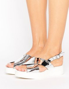 Read more about New look metallic flatform sandal - silver